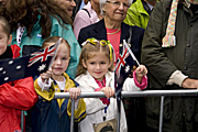 Australian children wave the Australia flag on Anzac Day, Sydney, Australia