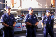 Australia, australian, people, man, men, male, males, hat, hats, roadblock, roadblock, roadblocks, road block, road blocks, car, cars, police car, police cars, uniform, uniforms, police, policeman, policemen, demonstration, demonstrations, police force, law, law enforcer, law enforcement, law and order.