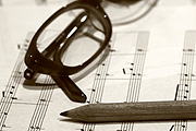 Music, sheet music, pencil, pencils, glasses, spectacles.
