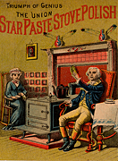 Trade card advertising stove polish, in the centre of the picture is a typical box stove. The figure on the right is supposed to represent George Washington (1732-1799) USA late 19th century. Chromolithograph. Heating