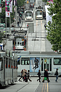 Australia, vic, victoria, melbourne, pedestrian, pedestrians, transport, transportation, vehicle, vehicles, tram, trams, sign, signs.
