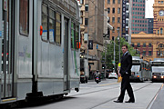 Australia, vic, victoria, melbourne, transport, transportation, vehicle, vehicles, tram, trams, sign, signs, elizabeth street, people, man, men, male, males.
