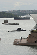Australia, New South Wales, sydney, architecture, opera house, sydney opera house, navy, australian navy, armed forces, submarine, submarines, harbour, harbours, sydney harbour, pinchgut, fort denison, fort, forts, ship, ships, shipping, transport.