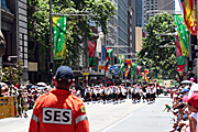Australia, New South Wales, sydney, parade, parades, christmas, christmas scene, christmas scenes, crowd, crowds, people, martin place, ses, J, Australia, Emergency, Emergencies, Emergency service, Emergency services, SES, Rescue, Rescue Services, man, men, male, males, occupation, occupations, outdoors, uniform, uniforms, helmet, helmets, safety.