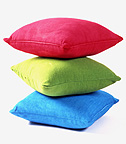 Pillow, pillows, cushion, cushions, consumer product, consumer products, dylon, craft, crafts, pink, green, blue.
