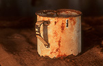 Cup, cups, tin cup, tin cups, drinking vessel, drinking vessels, rust, rusts, rusting, mug, mugs, tin mug, tin mugs.