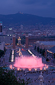 Europe, spain, barcelona, architecture, palace, palaces, fountain, fountains, national palace, water, night, nightime, evening, evenings, FF25,