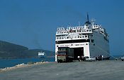 Greece, Europe, Southern Aegean, Southern Aegean region, frontier, igoumenista, ferry, ferries, car, car ferry, car ferries, transport, transportation, vehicle, vehicles, coast, coasts, coastline, coastlines, ship, ships, shipping, vessel, vessels, truck, trucks.