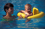 Child, children, baby, babies, infant, infants, mother, mothers, female, females, pool, pools, swimming pool, swimming pools, flotation, flotation aid, flotation aids, outdoors, swim, swims, swimming, safety, child safety, woman, women, outdoors, caution, livesaving, water safety, safety, Australia, Sport pictures, Sports, balloon images, hot air balloons