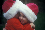 Christmas, christmas scene, christmas scenes, costume, costumes, girl, girls, female, females, hug, hugs, hugging, cuddle, cuddles, cuddling, embrace, embraces, embracing, child, children, people, Australia, Sport pictures, Sports, balloon images, hot air balloons