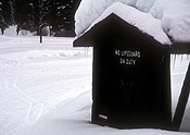 Canada, manning park, cascade mountains, british columbia, sign, signs, lifeguard, lifeguards, snow, snow scene, snow scenes, winter.