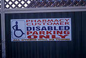 Australia, New South Wales, sydney, sign, signs, disabled, disability, disabilities, wheelchair, wheelchairs, parking, parking sign, parking signs, industry, retail, retail industry.