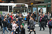 Australia, New South Wales, sydney, people, pedestrian, pedestrians, road, roads, sealed, sealed road, sealed roads, crowd, crowds, bus, buses, transport, transportation, vehicle, vehicles, sign, signs.