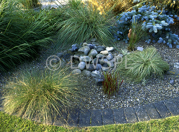Gravel Garden Bed With Small Pebble Waterfeature
