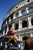 Europe, Italy, Italian, Rome, architecture, colloseum, the colloseum, ruin, ruins, people, man, men, male, males, carriage, carriages, transport, transportation, vehicle, vehicles, arch, arches, archway, archways, architecture, FF25,