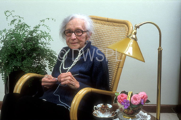 Old Lady Knitting Images : A royalty free image of elderly lady knitting