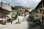 Europe, Switzerland, Swiss, Gruyeres, village, villages, architecture, house, houses, housing, chalet, chalets, street, streets.